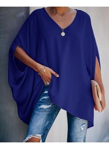 BLACK&GRACE Kadın Pembe Uzun Panço Gömlek  Mavi